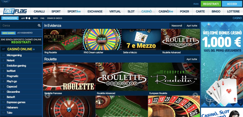 Betflag Casino homepage