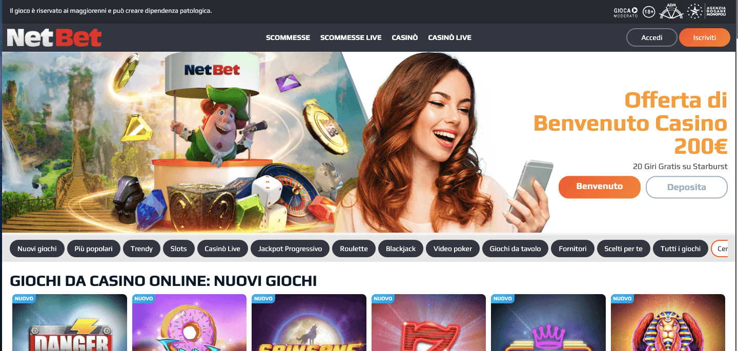 Netbet casino homepage