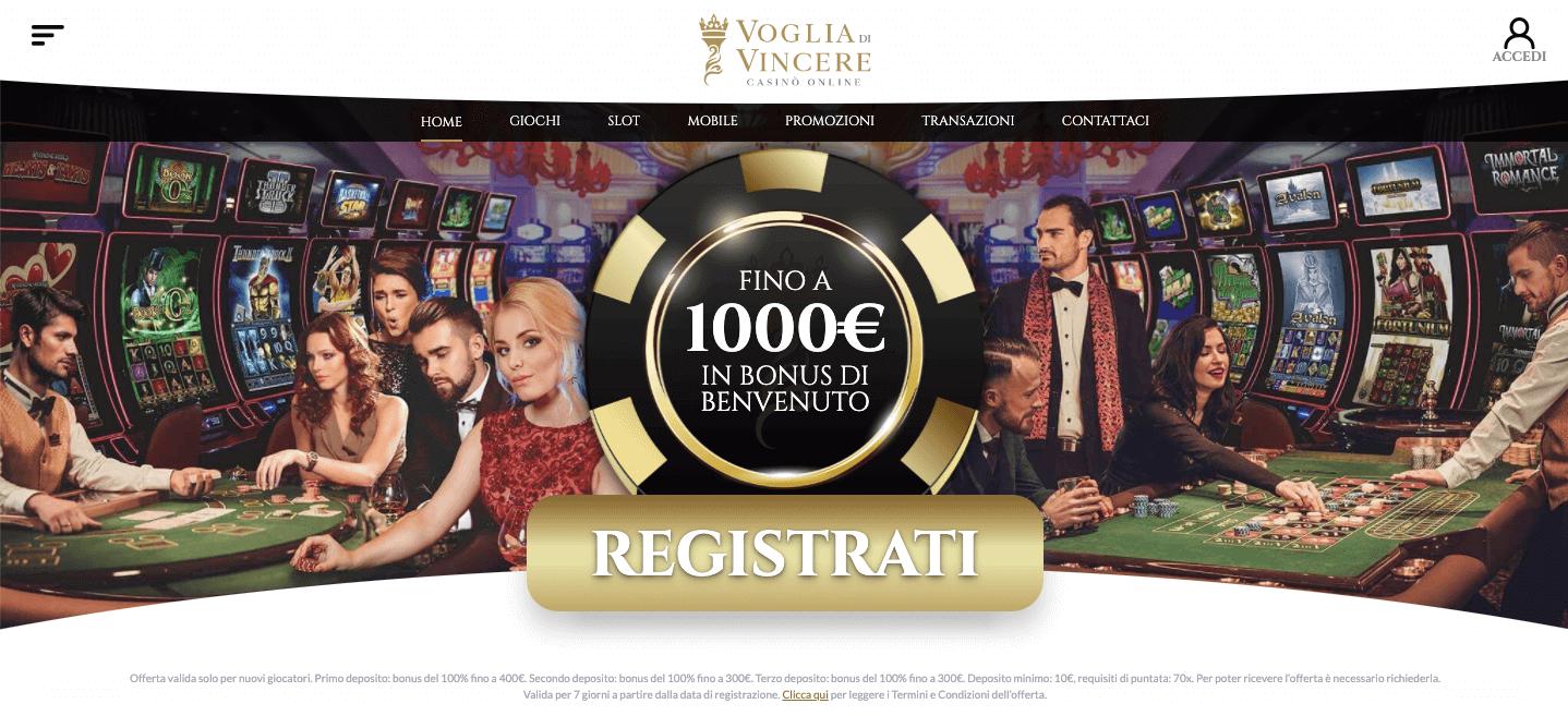 Voglia di Vincere Casino homepage