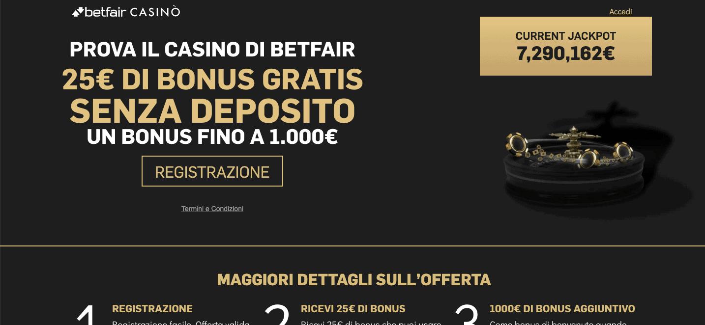 Betfair Casino homepage