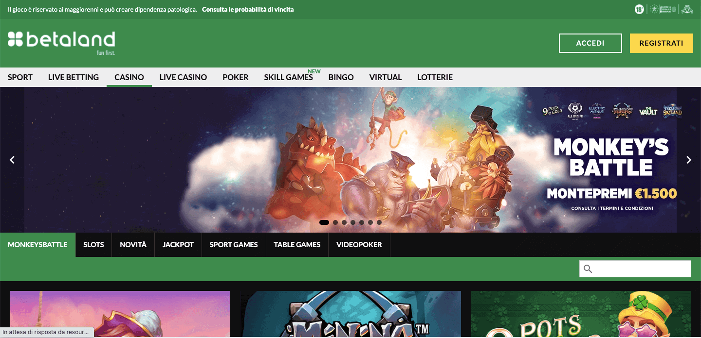 Betaland casino homepage