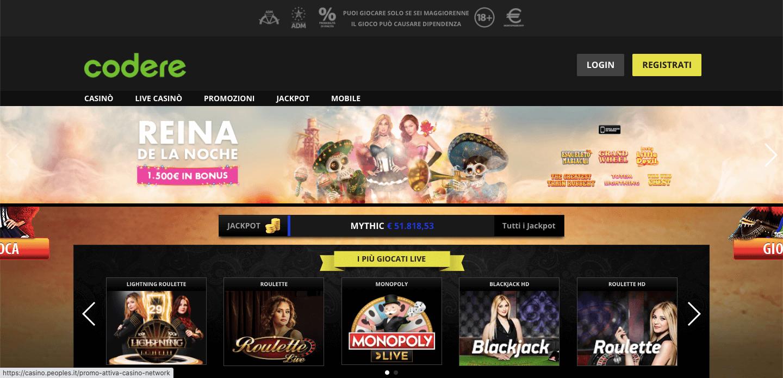 Codere Casino homepage