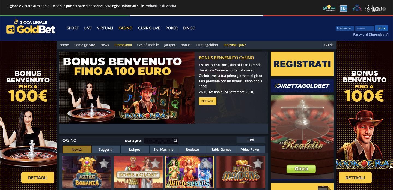 GoldBet Casino Homepage