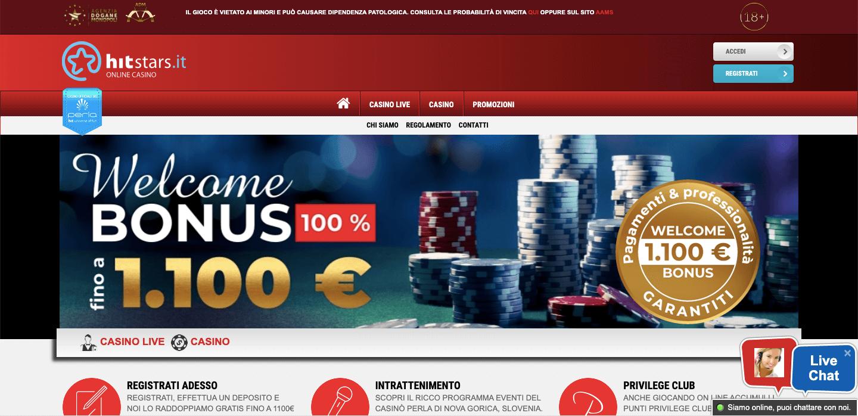 Hitstars Casino homepage