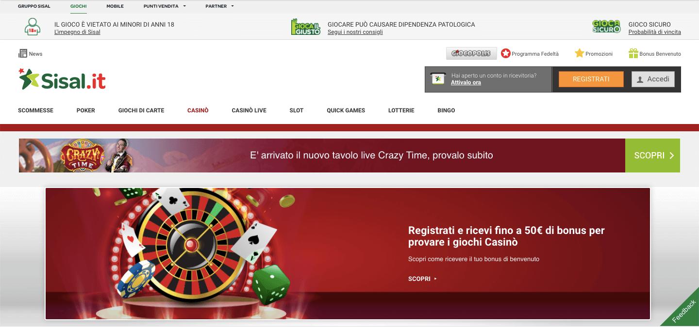 Sisal casino homepage