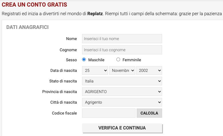 Replatz Registrazione