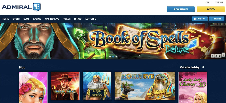 AdmiralYES Casino Homepage