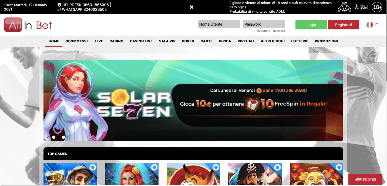 AllinBet Casino Homepage