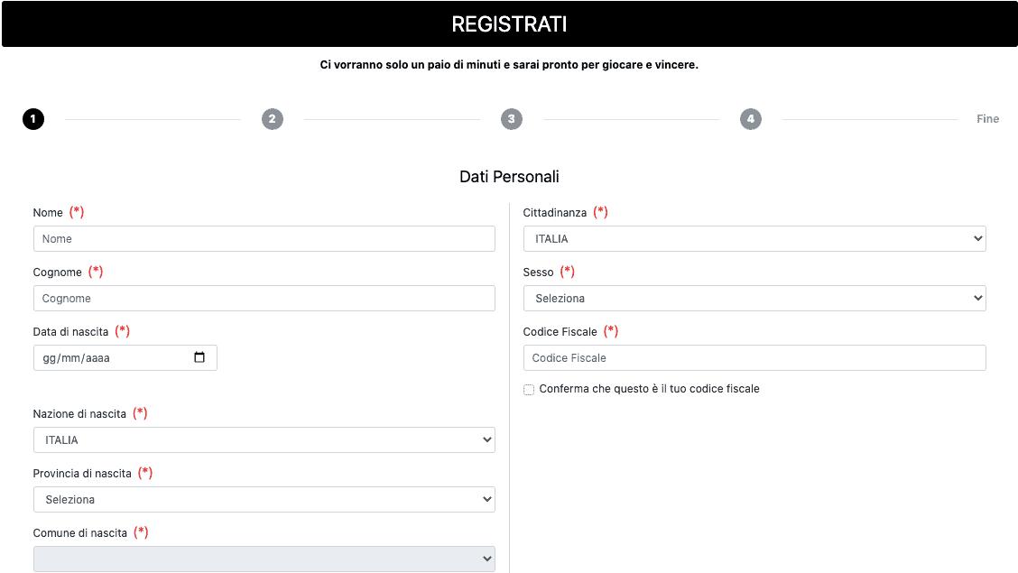 AllinBet Casino Registrazione