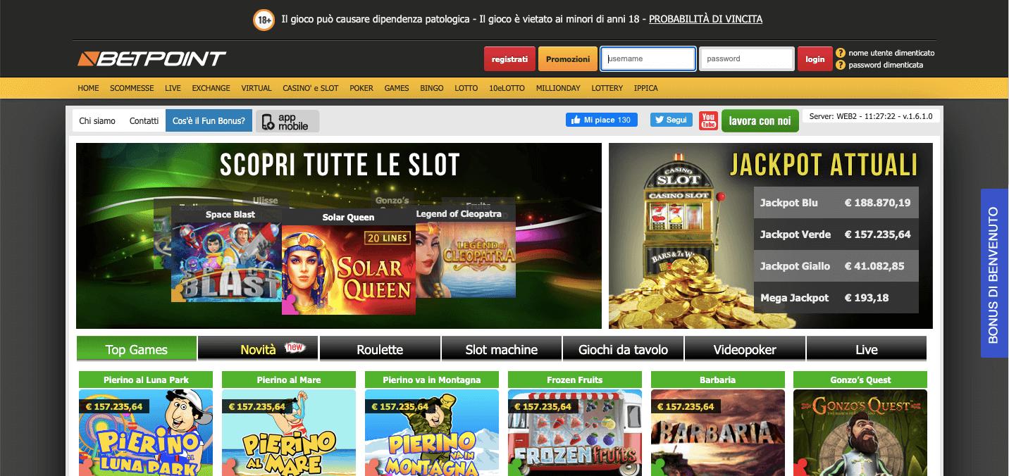 BetPoint Casino Homepage