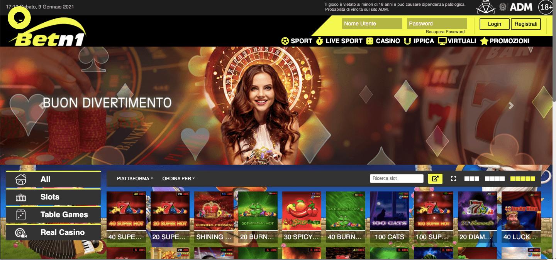 Betn1 Casino Homepage