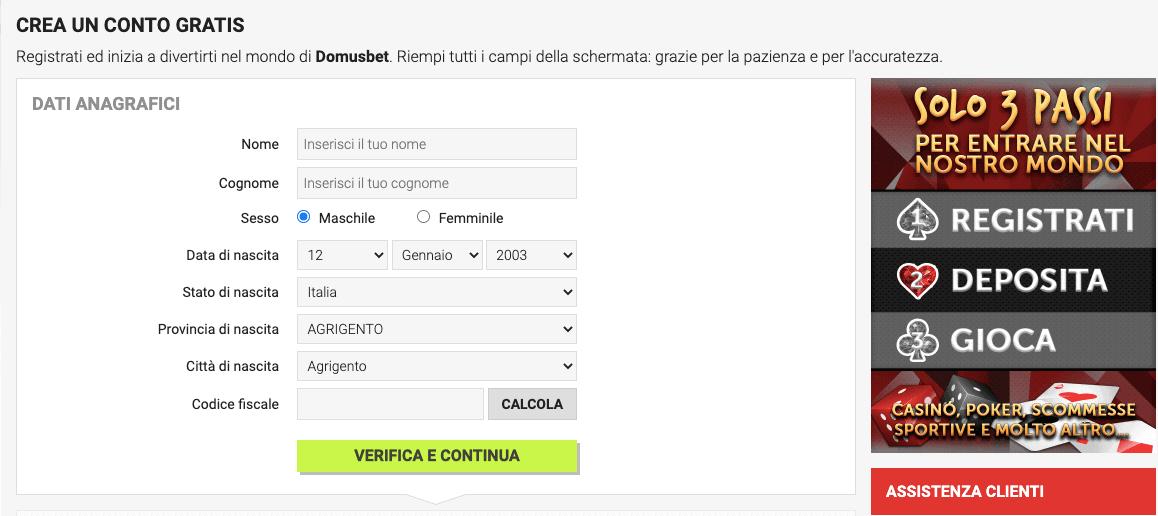 DomusBet Casino Registrazione
