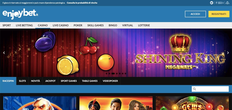 Enjoybet Casino Homepage