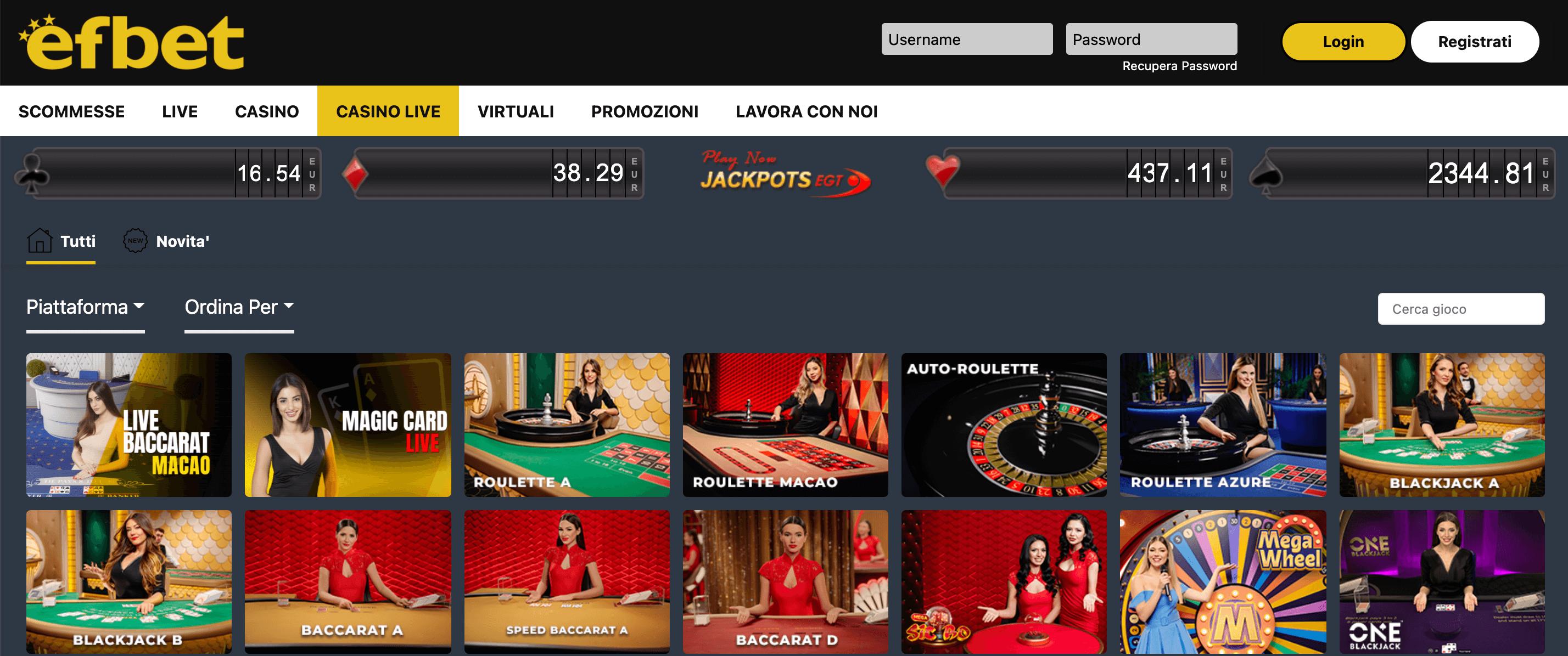 Efbet Casino Slot Live